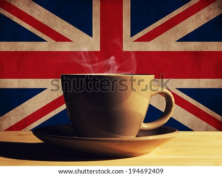 hot drink with UK flag