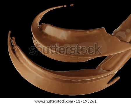 Hot drinks: chocolate or cocoa splash over black background - stock photo