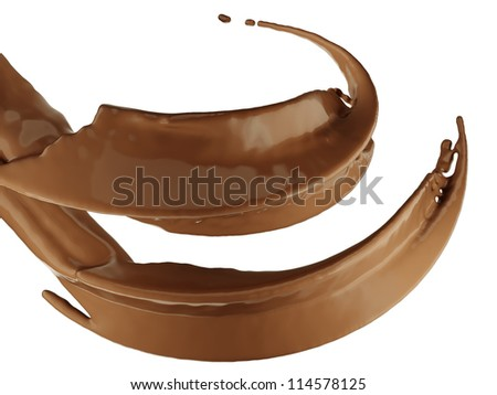 Hot drinks: chocolate or cocoa splash over white background - stock photo