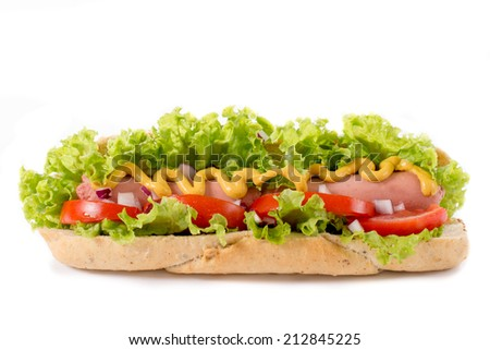 Hot dug sandwich isolated on white background