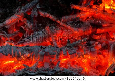 Hot ember close up - stock photo