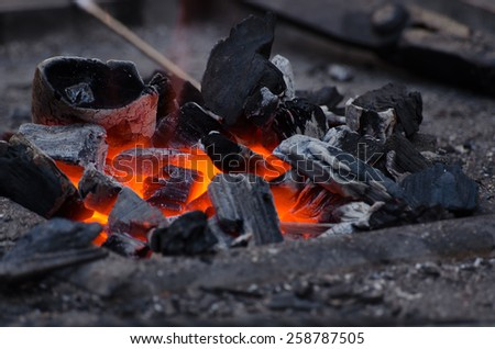hot embers (forge) - stock photo