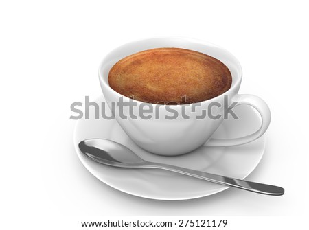 Hot espresso coffee in a white cup with a saucer and spoon - stock photo