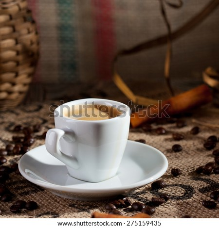 Hot Espresso Cup with Coffee Beans