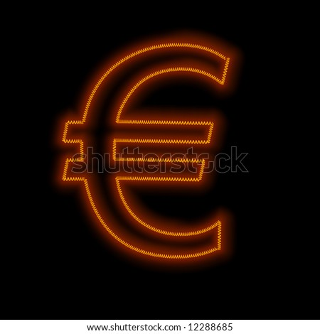 Hot Euro - glowing filament in the shape of a Euro - stock photo