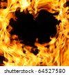 hot fire heart - stock photo