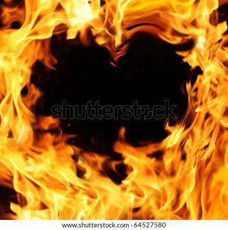 hot fire heart - stock photo