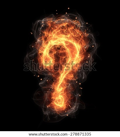 hot fire question, mark on black background