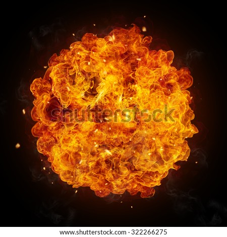 Hot fires flames in rounded shape, isolated on black background - stock photo