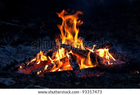 Hot Flame of campfire - stock photo