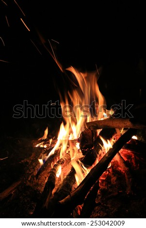 Hot flame of campfire in darkness - stock photo