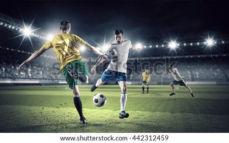 Hot football moments . Mixed media - stock photo