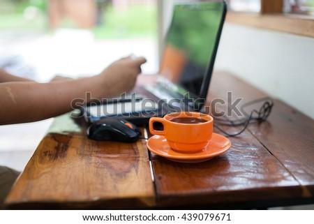 hot fresh coffee on desk work - stock photo