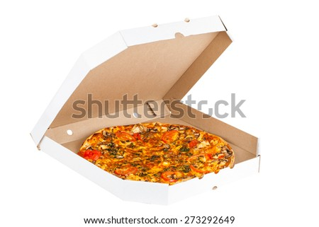 hot fresh pizza isolated on a white background - stock photo