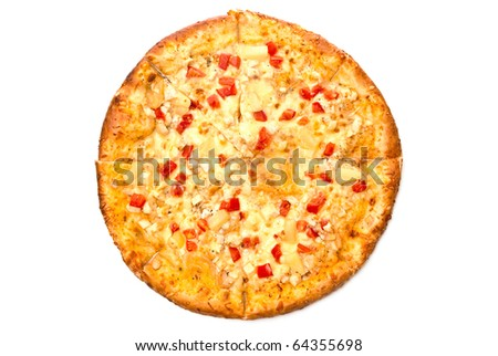 Hot fresh pizza with a vegetables. Isolated on white.