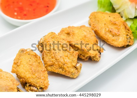 Hot fried chicken on a white background