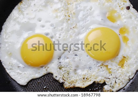 Hot fried eggs on the frying-pan.