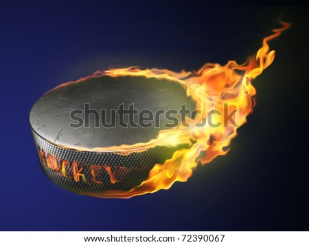 hot goal, burning puck - stock photo