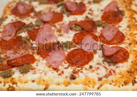 Hot gourmet pizza with pepperoni, sausage, ground beef and ham - stock photo