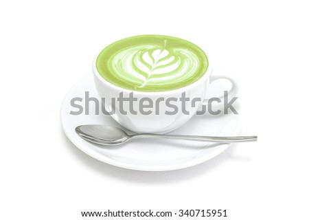 Hot green tea matcha latte in a cup white background isolated - stock photo