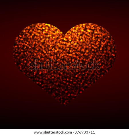 Hot heart with shiny texture on dark background