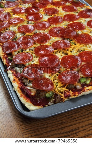 Hot home-made pizza - stock photo