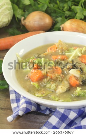 hot homemade cabbage stew with vegetables - stock photo