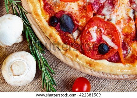 Hot Homemade Pizza Ready to Eat with salami rosemary and cherry tomatoes