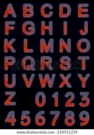 Hot Iron Font set isolated on black background - stock photo