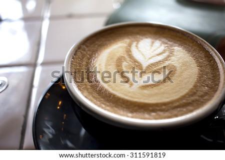 hot latte - stock photo
