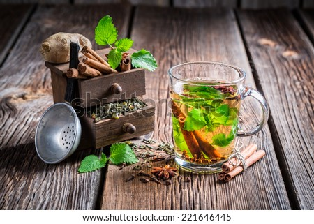 Hot leaf tea with cinnamon - stock photo