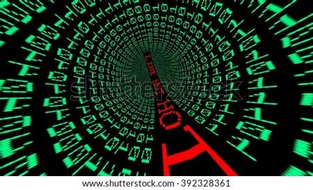 Hot line data tunnel - stock photo