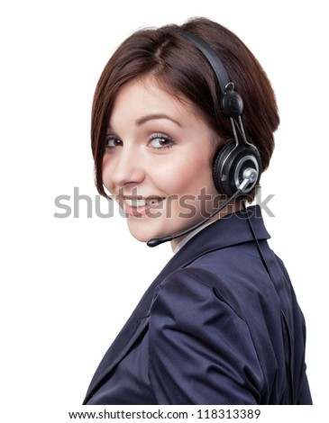 Hot-line girl - stock photo