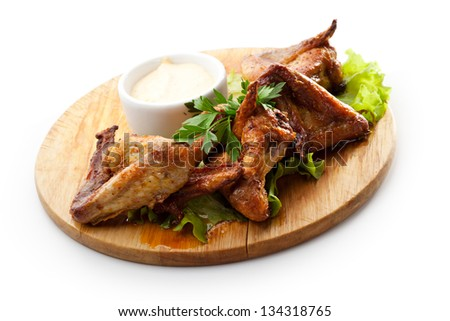 Hot Meat Dishes - Grilled Chicken Wings with White Sauce