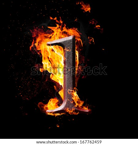 Hot metal burning numbers on black background - number one - stock photo