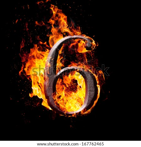 Hot metal burning numbers on black background - number six - stock photo