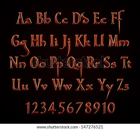 Hot Metal Text Alphabet on black background  - stock photo