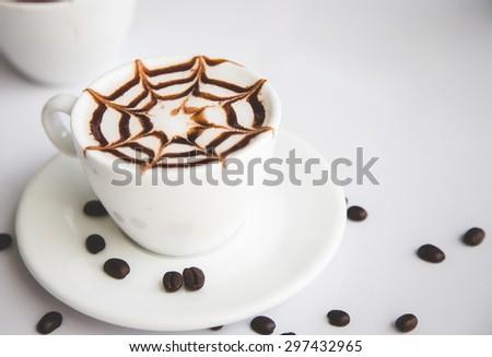 hot milk coffee,coffee beans - stock photo
