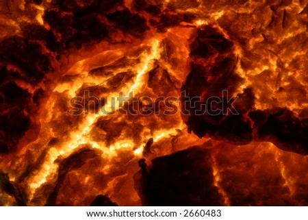 Hot Molten Lava 4. The cracking crust of a hot flow of magma. - stock photo