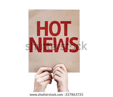 Hot News card isolated on white background - stock photo