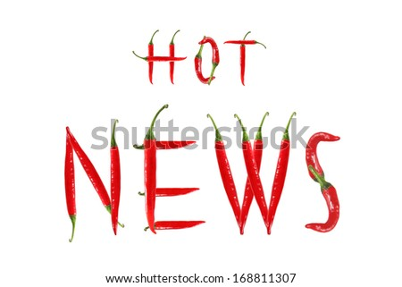 HOT NEWS text composed of chili peppers. Isolated on white background
