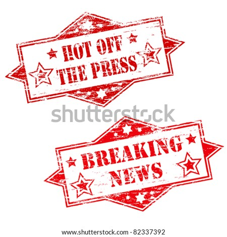 HOT OFF THE PRESS and BREAKING NEWS Rubber Stamp Illustrations - stock photo