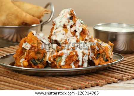 Hot pakora with mint sauce