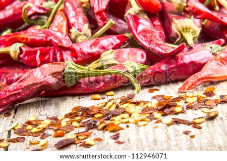 hot paprika and chilli flakes on a wooden board - stock photo