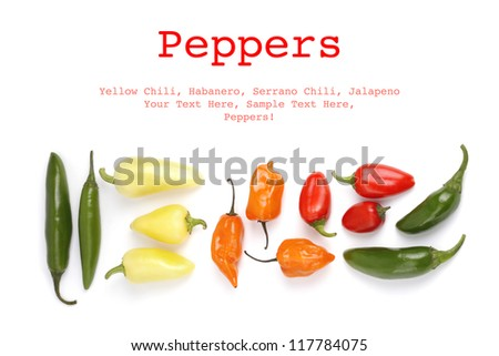 Hot peppers isolated on white background with sample text - stock photo