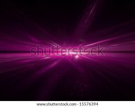 Hot Pink Horizon - 3D fractal Illustration - stock photo