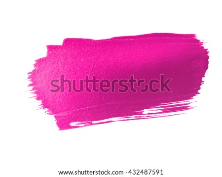 hot pink paint smear stroke stain on white background