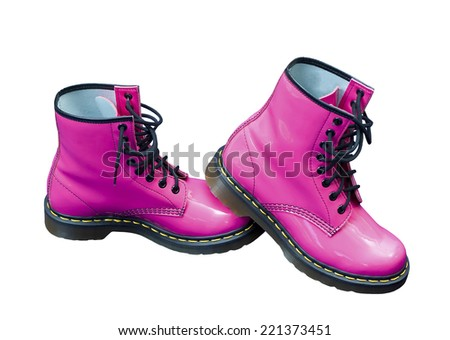 Hot pink protective safety boots on an isolated white background with a clipping path - stock photo