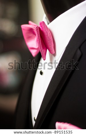 Hot Pink Tie, Prom - stock photo