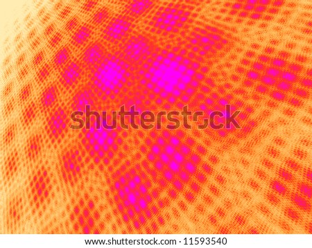 Hot Pink to Orange on White Moire 3D Landscape - stock photo
